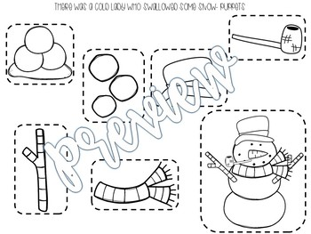 There Was a Cold Lady Who Swallowed Some Snow Stick Puppets & Writing Activity