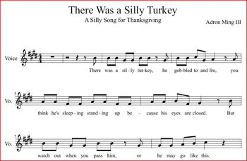 """""""There Was a Silly Turkey"""" Thanksgiving Song and Game with background track"""