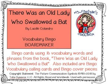 There Was an Old Lady Who Swallow a Bat - 16 square BOARDMAKER Bingo