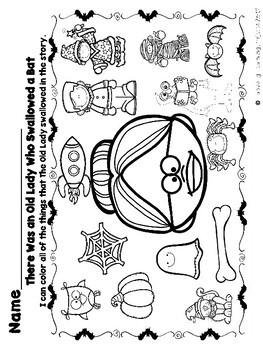 There Was an Old Lady Who Swallowed A Bat  (Mini Vocabulary Card Bundle)