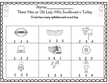 There Was an Old Lady Who Swallowed A Turkey Math & Literacy Unit!