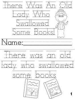 """""""There Was an Old Lady Who Swallowed Some Books"""" Cut, Trace & Color Printable!"""