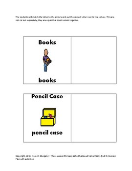 There Was an Old Lady Who Swallowed Some Books Lesson Plan and Activities