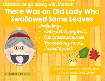 There Was an Old Lady Who Swallowed Some Leaves Activities