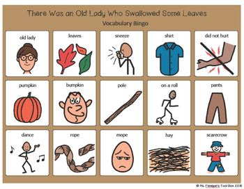 There Was an Old Lady Who Swallowed Some Leaves BOARDMAKER Bingo