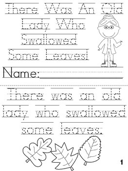 """There Was an Old Lady Who Swallowed Some Leaves"" Cut, Trace & Color Printable!"