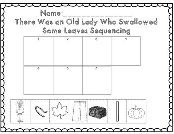 There Was an Old Lady Who Swallowed Some Leaves Math & ELA Activity Set