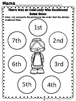 There Was an Old Lady Who Swallowed Some Snow  (Mini Vocabulary Card Bundle)
