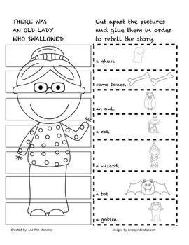 There Was an Old Lady Who Swallowed a Bat Halloween Sequencing Activity