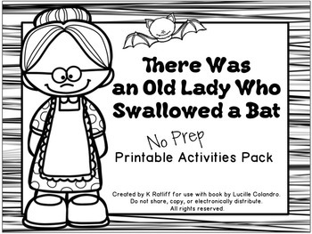 There Was an Old Lady Who Swallowed a Bat:  No-Prep Printa