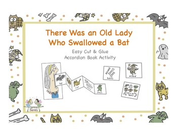 There Was an Old Lady Who Swallowed a Bat SEQUENCING (Color+ B/W) Craftivity