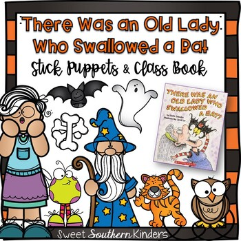 There Was an Old Lady Who Swallowed a Bat Stick Puppets & Writing Activity