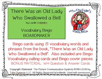 There Was an Old Lady Who Swallowed a Bell - BOARDMAKER Bingo Game