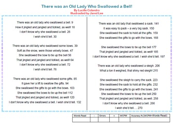 There Was an Old Lady Who Swallowed a Bell Fluency Drill