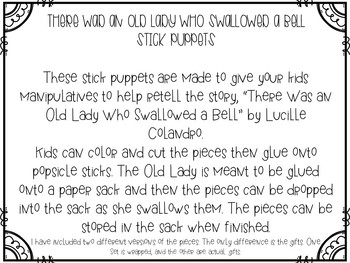 There Was an Old Lady Who Swallowed a Bell Stick Puppets & Writing Activity