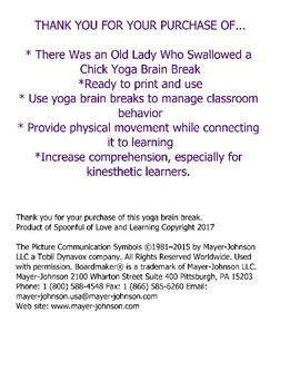 There Was an Old Lady Who Swallowed a Chick Yoga Brain Break