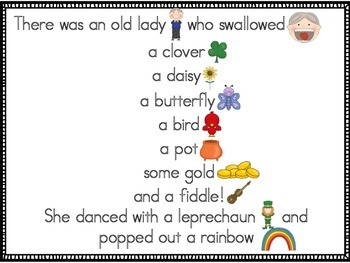 There Was an Old Lady Who Swallowed a Clover {Literacy Centers}