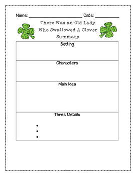 There Was an Old Lady Who Swallowed a Clover Summary Graphic Organizer