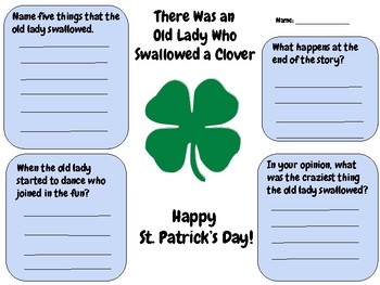 There Was an Old Lady Who Swallowed a Clover - Writing Activity (Comprehension)
