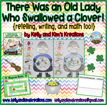 There Was an Old Lady Who Swallowed a Clover! {retelling, writing, & math too!}