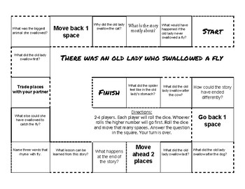 There Was an Old Lady Who Swallowed a Fly comprehension game board