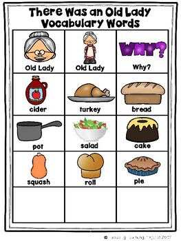 There Was an Old Lady Who Swallowed a Pie (Mini Vocabulary Card Bundle Set)