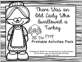 There Was an Old Lady Who Swallowed a Turkey:  No-Prep Printables Pack