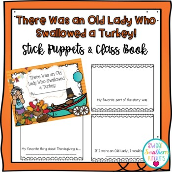There Was an Old Lady Who Swallowed a Turkey Stick Puppets & Writing Activity