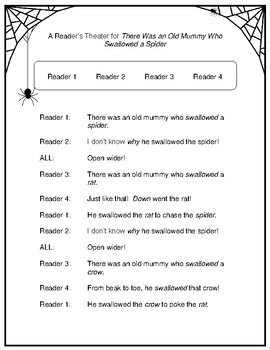 There Was an Old Mummy Who Swallowed a Spider  --  A Reader's Theater