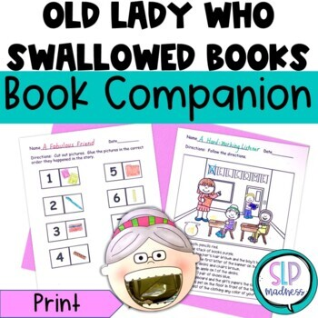 Companion for Old Lady Who Swallowed Some Books Back to School Activity Pack
