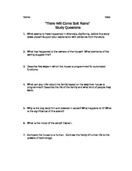 ANSWER KEY--- There Will Come Soft Rains- Study Guide - What are ...