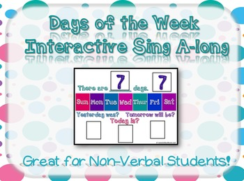 There are 7 days interactive song for Autism classrooms