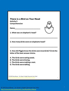 There is a Bird on Your Head with Literacy and STEAM Activities Book Unit
