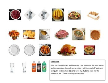 There is what on the table? Thanksgiving Vocab & Prepositions