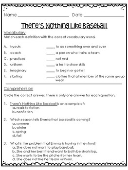 There's Nothing Like Baseball Quick Quiz - Treasures Grade 2