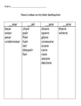 There's a Bear on My Chair Word Study