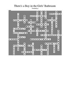 There's a Boy in the Girls' Bathroom - Vocabulary Crossword Puzzle