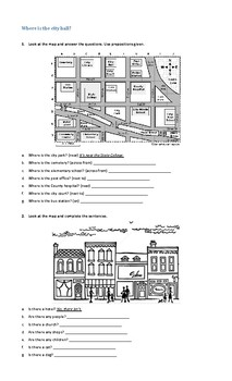 There to be and prepositions of place worksheet