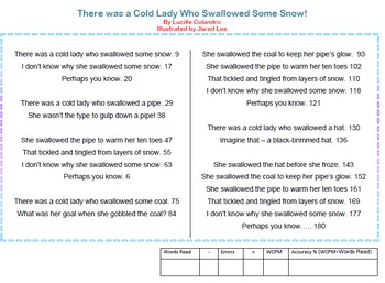 There was a Cold Lady Who Swallowed Some Snow Fluency Drill