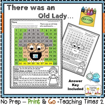 There was an Old Lady Who Swallowed a ... Hidden Picture Hundreds Chart & Bonus