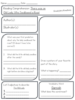 There was an Old Lady Who Swallowed a Rose! - Reading Comprehension Sheet