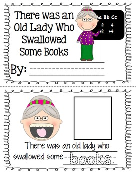 There was an Old Lady who Swallowed Some Books - visuals and acitvity book