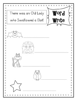 There was an Old Lady who Swallowed a Bat Posters & Writing Activity
