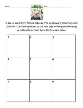 There was an Old Lady who Swallowed a Clover Sequence Activity St. Patrick's Day