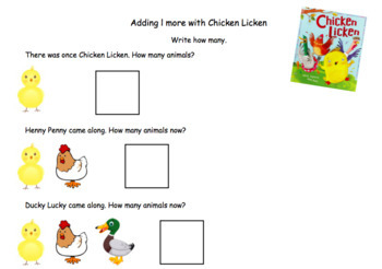 Chicken Licken Worksheet (adding 1)