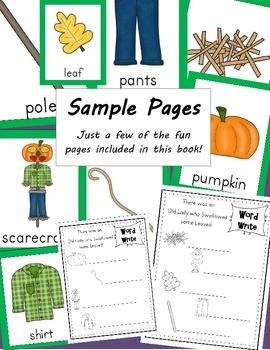 There was an Old Lady who Swallowed some Leaves Posters & Writing Activity