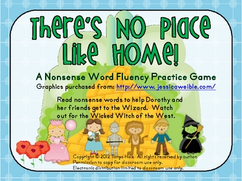 There's No Place Like Home Wizard of Oz Nonsense Word Fluency Game