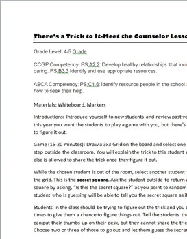There's a Trick to It (Meet the Counselor) Lesson Plan