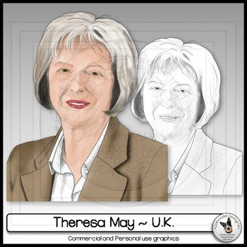 Theresa May Prime Minister of the United Kingdom Clip Art Portrait