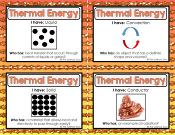 Thermal Energy Activity - I Have, Who Has?
